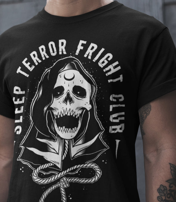 Sleep Terror Clothing Fright Club T-shirt | Black occult t-shirt for men featuring a cloaked skull figure, the grim reaper, with a hangman's noose