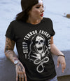 Sleep Terror Clothing Fright Club T-shirt | Black occult t-shirt for women featuring a cloaked skull figure, the grim reaper, with a hangman's noose