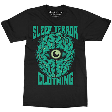 Sleep Terror Clothing Insomnia T-shirt | Black occult unisex t-shirt featuring a green brain with a crescent moon in the middle