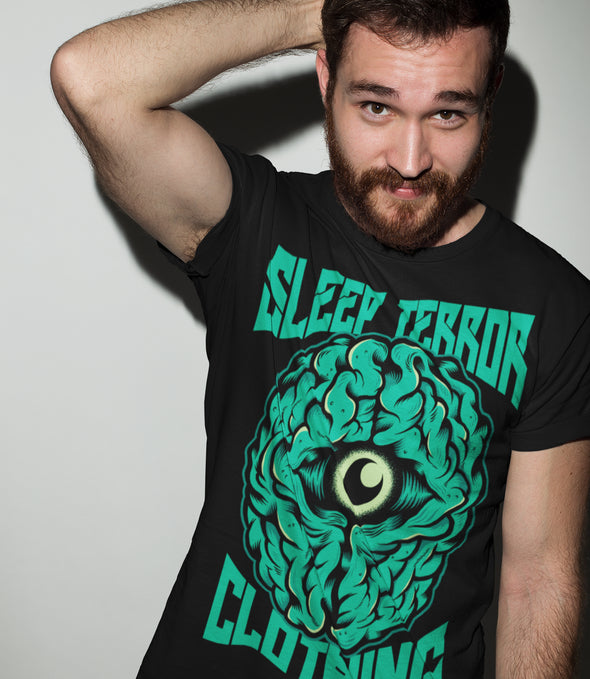 Sleep Terror Clothing Insomnia T-shirt | Black occult t-shirt for men featuring a green brain with a crescent moon in the middle