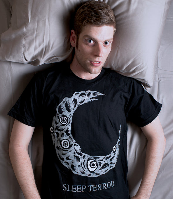 Sleep Terror Clothing Dead Moon T-shirt | Black occult t-shirt for men featuring a distressed crescent moon design covered in craters and creepy eyeballs