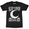 Sleep Terror Clothing Nightmare Made T-shirt | Black goth unisex t-shirt featuring our logo above a crescent moon with the slogan nightmare made.