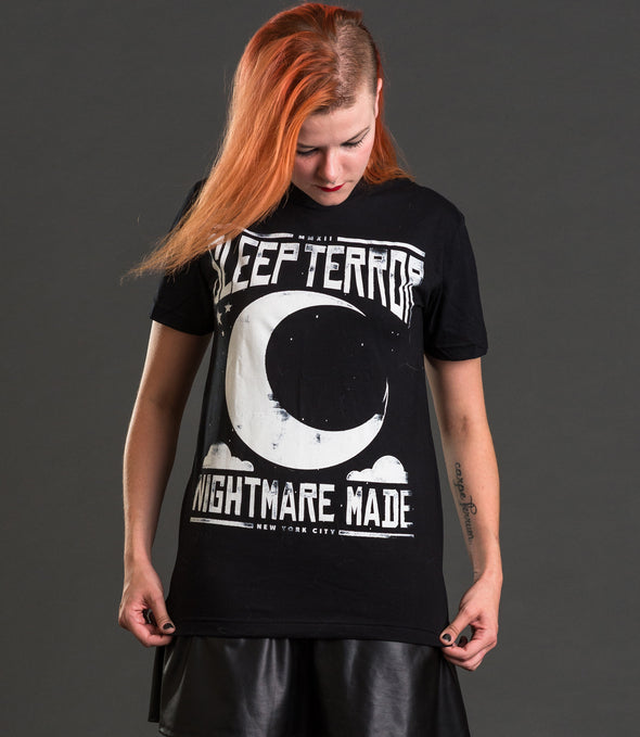 Sleep Terror Clothing Nightmare Made T-shirt | Black goth t-shirt for women featuring our logo above a crescent moon with the slogan nightmare made.