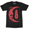 Sleep Terror Clothing Nosferatu T-shirt | Black occult unisex t-shirt featuring Nosferatu's blood-soaked face in the shape of a crescent moon with an upside down coffin hanging form the top point of the moon
