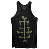 Sleep Terror Clothing Sleep Bones Tank Top | Black goth unisex tank top featuring our initials ST made out of bones