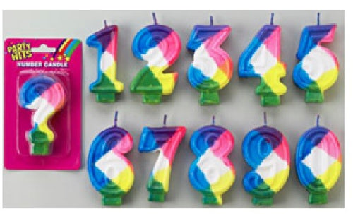 Rainbow Number Candles - Numbers 0 to 9 Plus Question Mark