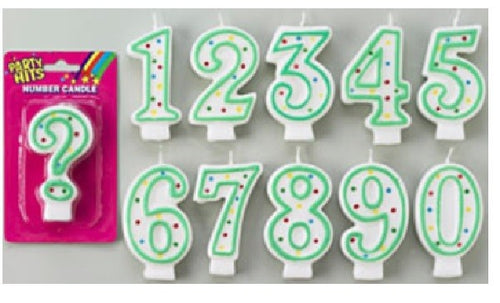 Green/White  Number Candles - Numbers 0 to 9 Plus Question Mark