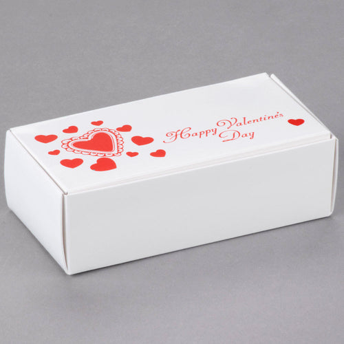 Valentine's Day 1/2 lb. Candy Boxes Kit - 12 boxes, 12 pads & 12 gold loop ribbons