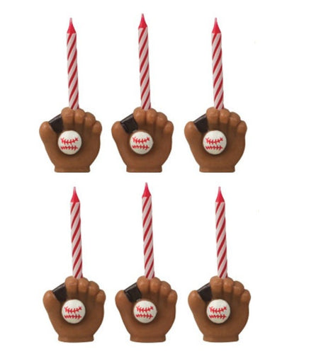 Baseball Glove Candleholder Sets, 1 Set (6 candles)