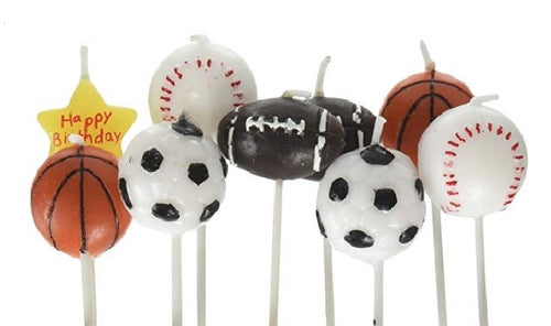 Sports Birthday Candles, 1 set (9 candles)