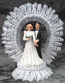 Wedding Cake Topper - E102 -  Bride & Groom, Porcelain Couple-Lace Arch