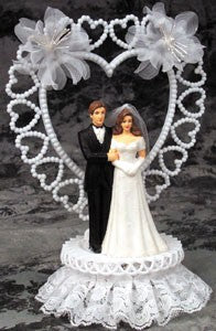 Wedding Cake Topper - E780 -  Bride & Groom, Hearts & Flowers Topper