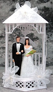 Wedding Cake Topper - E506 -  Bride & Groom, Gazebo Topper