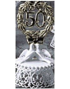Anniversary Cake Topper - E50-  Golden Anniversary with Doves
