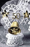 Anniversary Cake Topper - E420G-  Golden Anniversary with Bell