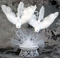 Anniversary / Wedding Cake Topper - E39-  Doves on Heart