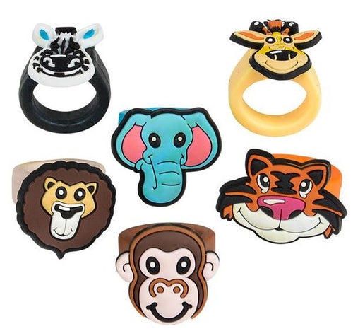 Zoo Animal Cupcake Decorating Rings (Rubber) - 24 Pack