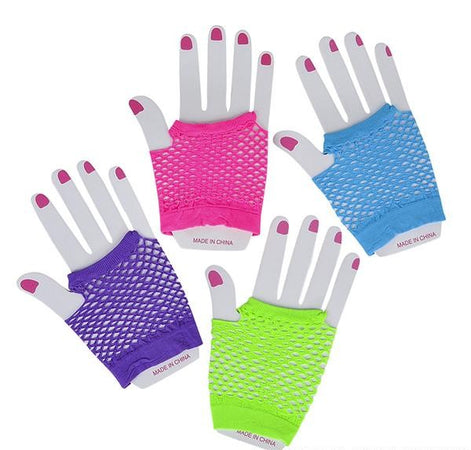 Neon Fishnet Wrist Gloves 12 pk