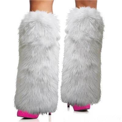 White Furry Leg Warmers 1 pair