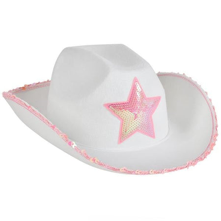 White Felt Cowgirl Hat with Pink Star