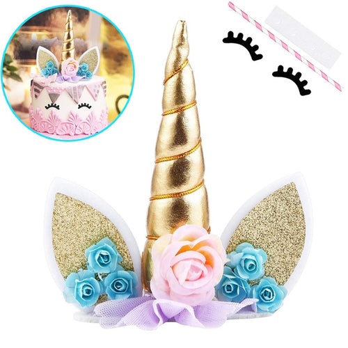 Unicorn Cake Topper, with Eyelashes (1)  & Unicorn Stickers (25)