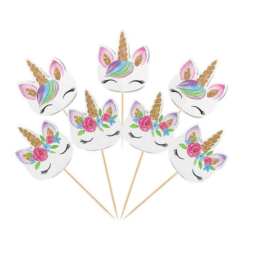 24 Rainbow Unicorn Cupcake Toppers &  25 Unicorn Stickers