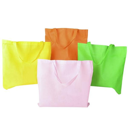Large Assorted Color Neon Tote Bags 12 pk