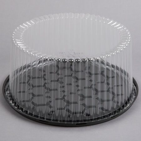 "10"" 2-3 Layer Cake Display Container w/ Clear Dome Lid"