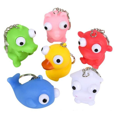 Assorted Animals Googly-Eye Key Chains 12 pk