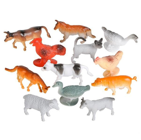 Farm Animals Playset / Cake Topper Kit 12 pk