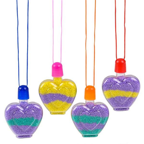 Heart Shape Sand Art Necklaces 12 pk