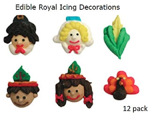 Thanksgiving Mini Royal Icing Sugar Shapes - 12 pack