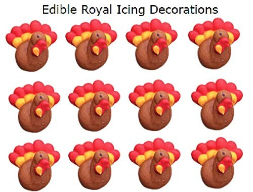 Turkey Mini Royal Icings Sugar Shapes 12 pack