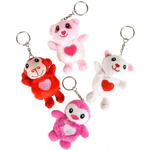 Valentine Plush Animal Keychains 4 pk
