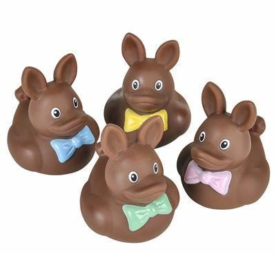 CHOCOLATE BUNNY RUBBER DUCKIES - 12 COUNT