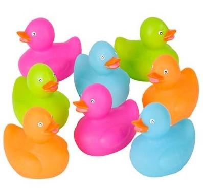 Mini Neon Rubber Ducks - 24 count