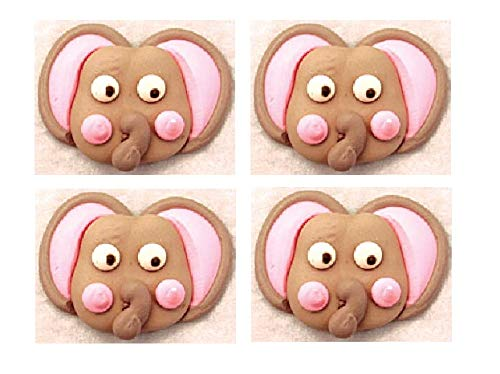 "Edible Royal Icing Decorations - 2.25"" Elephant Face - 4 count"