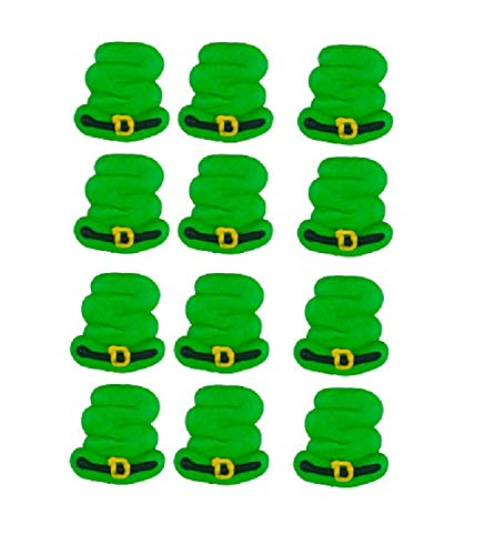Edible Royal Icing Decorations - Leprechaun Pipe Hats - 12 count