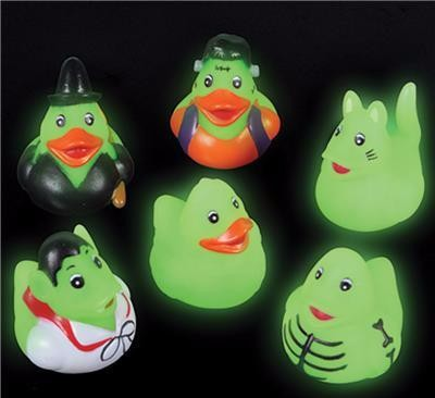 Mini Glow-in-the-Dark Halloween Rubber Ducks - 12 count