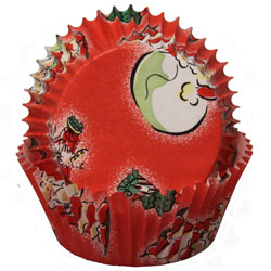 Standard Size Christmas Red w/ Santa Faces & Christmas Trees Baking Cups / Cupcake Liners - 500 count