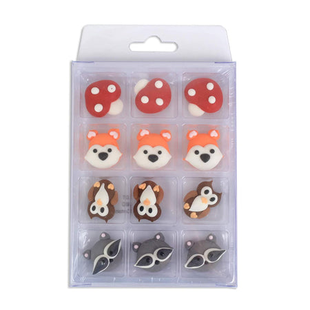 Edible Royal Icing Decorations - Woodland Creature Faces - 12 count