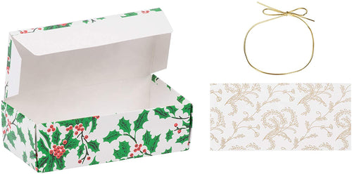 Holly 1/2 lb. Candy Boxes Kit - 12 boxes, 12 pads & 12 gold loop ribbons