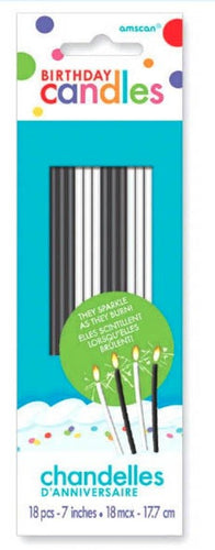 Black & White Sparkling Birthday Cake Candles, 12/pk