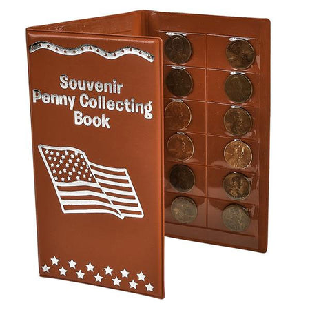 American Flag Souvenir Penny Collecting Book Red