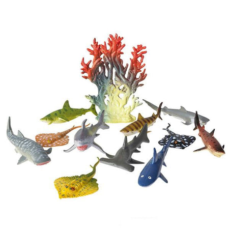 12 piece Shark and Stingray Playset