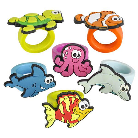 Sea Life Rubber Rings - 12 Pack
