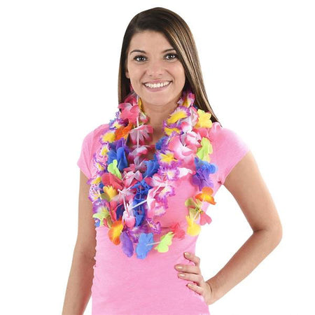 Assorted Color Flower Leis 50 pk