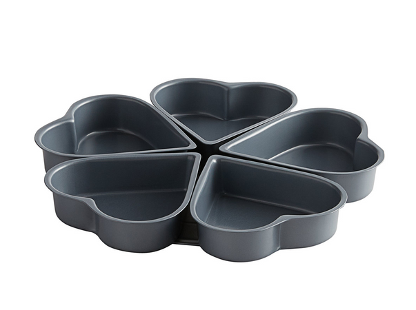 Non-Stick Carbon Steel 5 Mold Heart Shaped Cake Pan