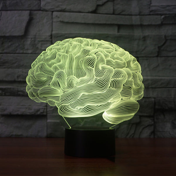 3D Brain Shape Illusion 7 Color Touch Switch LED Night Light