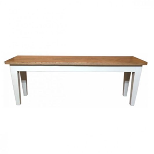 Hamptons Bench Seat - Natural Top, White Legs